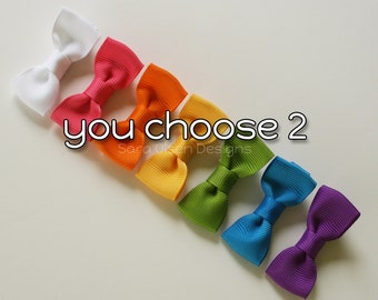 Mini Tuxedo Hairbows, Set of 2, Basic Hairbows, You Choose Color, Miniature Bow Tie Hairbows, 2 Inch, Pigtails, Toddler Size, Petite