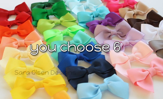 Petite Classic Hairbows, You Choose 6, Simple Bows, 2.5 Inch Hairbows, Hair Clips, Back to School, Small Hair Clips