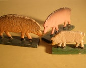 Vintage 1920s 3 Pigs from Erzgebirge Region of Germany. Hand carved. Hand painted. Primitive German Folk Art.