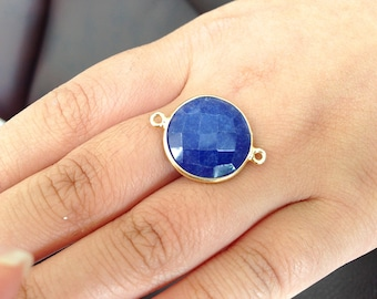 FINAL sale 2 pieces of Lapis in 14k gold filled connector size 15 mm without rings