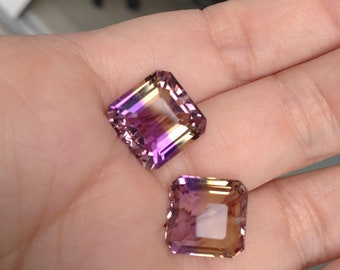 One pairs bi color ametrine natural drilled 14.00 cts, 12x12mm-12x11.50mm