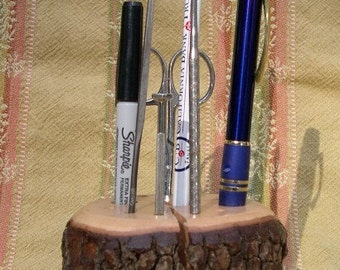 Natural Dogwood Tree Stump w/ Bark Tool, Pen, Pencil Holder