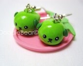 Mameshiba Soy Edamame Polymer Clay Kawaii Dangle Earrings - Green
