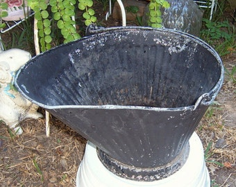 SALE, Vintage Coal Scuttle, Chippy Black, Coal Bucket, Ash Bucket, Galvanized,  Planter, Farmhouse