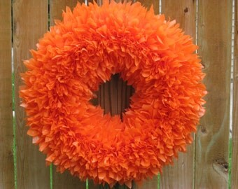 Fall Wreath - Autumn Wreath - Pumpkin Wreath - Orange Wreath - Indoor Outdoor Wreath - Door Wreath - Outdoor Wreath - Summer Wreath