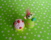 Green and Pink Birthday Booga with Cupcake Polymer Clay Cute Pet Animal Cat Kitty Ooak Miniature Figurine Gift Cake