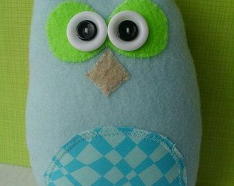 Cute Blue Plush Owl Bird Stuffed Animal Softie Plushie Ooak Woodland Animal