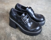 vintage 90s GOTH GRUNGE chunky platform double buckle womens shoes size 7