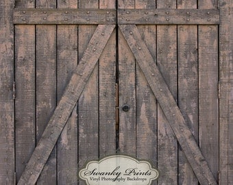 8ft x 8ft Dark Barn Doors / Vinyl Photography Backdrop Floordrop Newborn photos