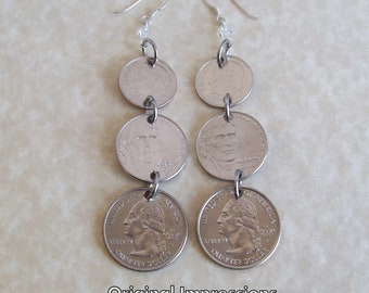 Coin earrings dime nickel quarter dangly ear rings on sterling silver ear wires with clear crystal accents.