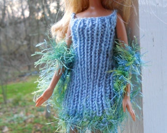 light blue party dress with fun fur trim and matching boa for any 11 1/2 inch fashion doll