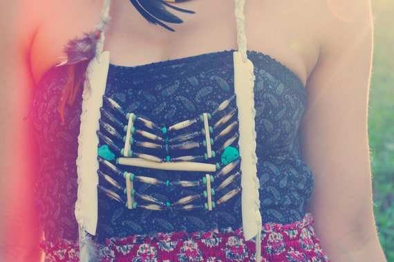 cuhtahlatah. white leather breast plate necklace w genuine turquoise & feathers.