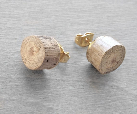 Wood Stud Earrings - Driftwood Faux Plug Fake Gauge with Gold Plated backs