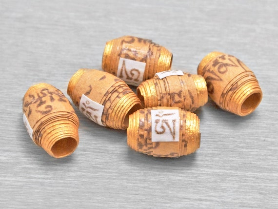 Buddhist Prayer Scroll Mantra Beads - Om Mani Padme Hum - Peach - 6 pcs