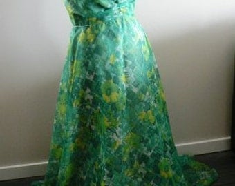 vintage dress ... MAXI 70s DREAMY GREEN Floral  sweet vintage Dress ...
