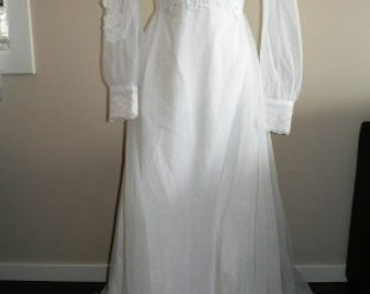 vintage wedding ... VINTAGE Bride SHEER Ruffled Train Wedding Dress  ... vintage wedding