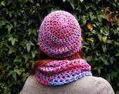 Striped Pink Beanie Soft Crochet Pink Hat