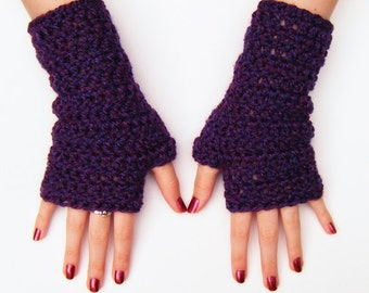 Purple Fingerless Texting Gloves Winter Fashion Crochet Wristwarmers