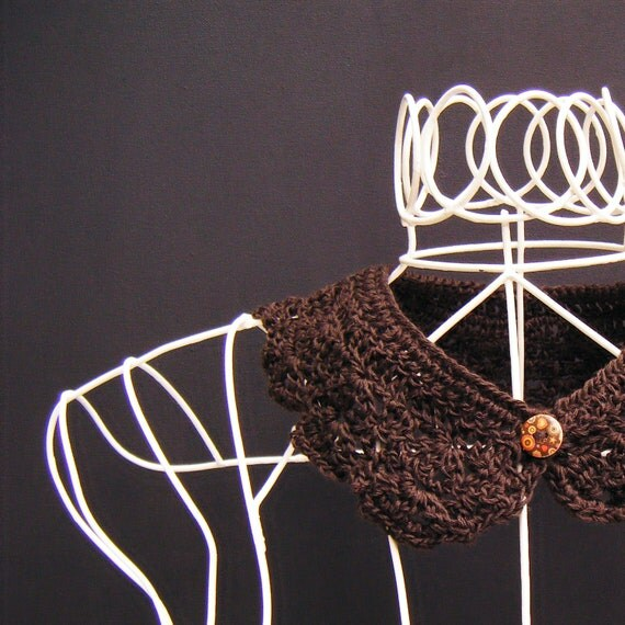 Chocolate Brown Merino Detachable Buttoned Peter Pan Collar