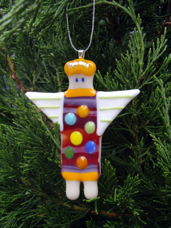 Fused Glass Ornament - Funky Angel