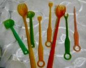 1950s Tupperware vintage pastel Parfait sporks fingernail tool kitchen items Collectible