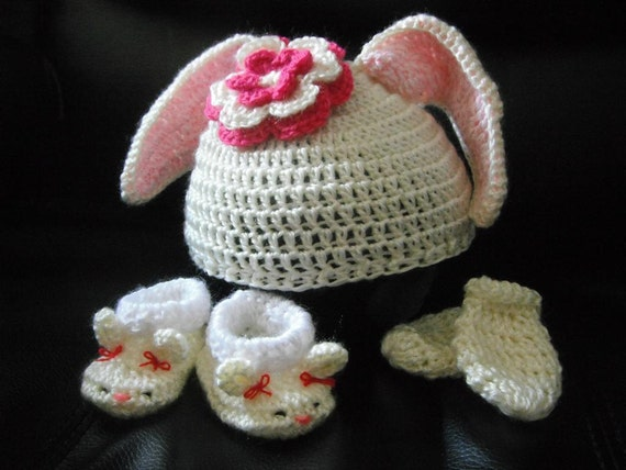 Crochet Bunny Baby Booties Pattern : Crochet Pattern Baby Bunny Set Rabbit Ears Hat booties