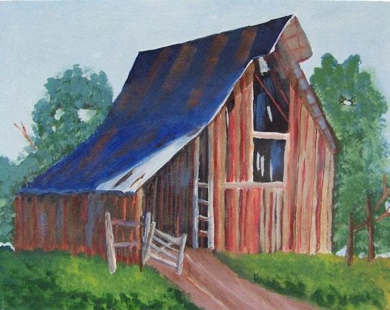 vintage country barn painting acrylic farmhouse decor