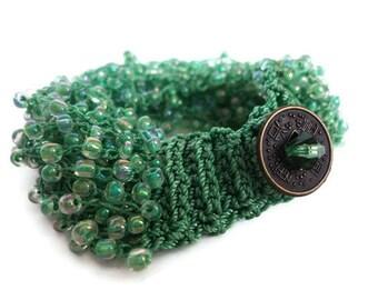 Sea Foam Green Knitted Bracelet