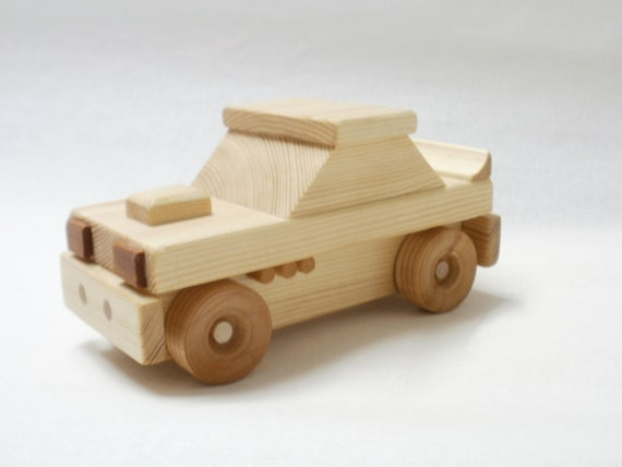 toy car hot rod wood push toy
