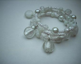 Memory wire wrapped bracelet white