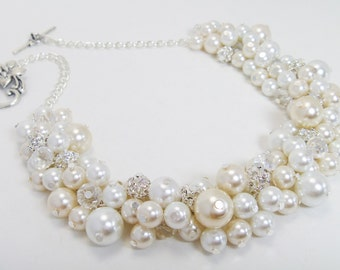 Ivory Pearl Necklace, white and Ivory rhinestone necklace, cluster necklace, chunky necklace,  rhinestone jewelry, white pearl necklace.