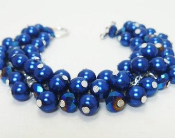 Pearl Bracelet, Royal Blue Pearl Bracelet, chunky bracelet, pearl and crystal bracelet, bridal pearl jewelry, royal blue cluster bracelet