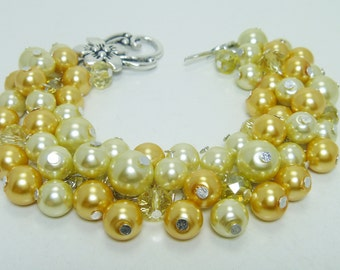 Pearl Bracelet, Yellow Pearls Cluster Bracelet, Chunky Bracelet, Yellow Bridesmaid Jewelry, Bridal Pearl Bracelet, Yellow Pearl Jewelry.