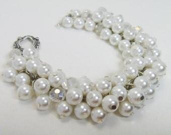 Pearl Bracelet, White Pearl Cluster Bracelet, Chunky White Bracelet, Bridal Jewelry, Pearl Cluster Bracelet, Pearl Bridesmaids Bracelet.