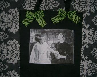 FRANKENSTEIN and BRIDE horror tote bag