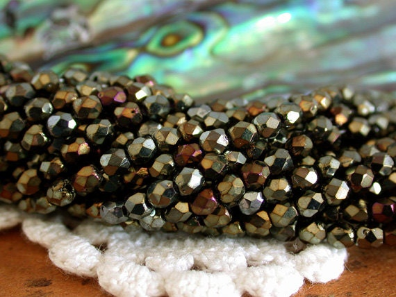2 Strands ~ 100 Pieces 3mm Fire Polished Beads, Czech Glass Beads, Firepolished Beads, Brown Iris Beads, Faceted Glass Beads CZ-042