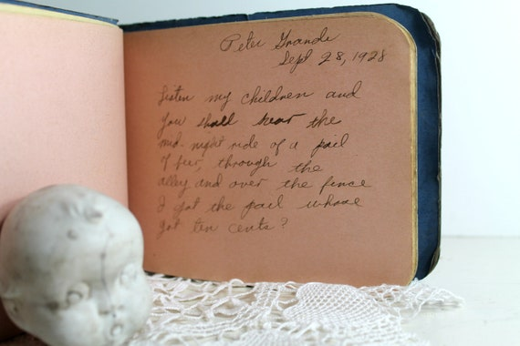antique Prohibition beer poem in HS autograph book--ephemera--