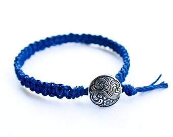 Blue Hemp Bracelet Friendship with Button