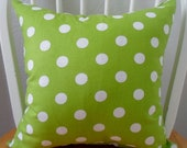 Pillow Cover 16x16in Green and White Polka Dot Pattern