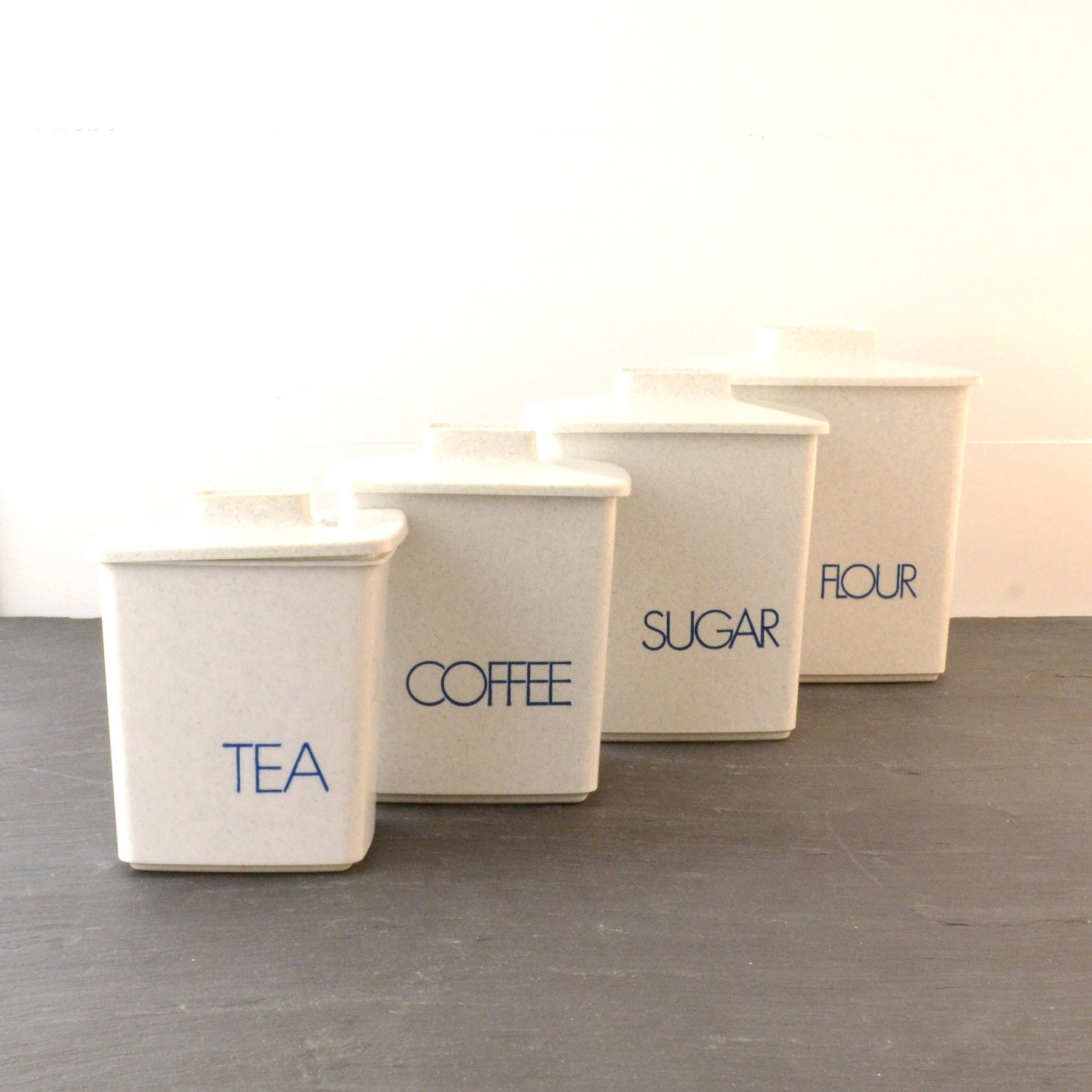 vintage grey kitchen canisters modern typography blue set of 4