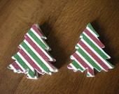Red, White & Green striped glitter Christmas tree embellishments, 32 pcs