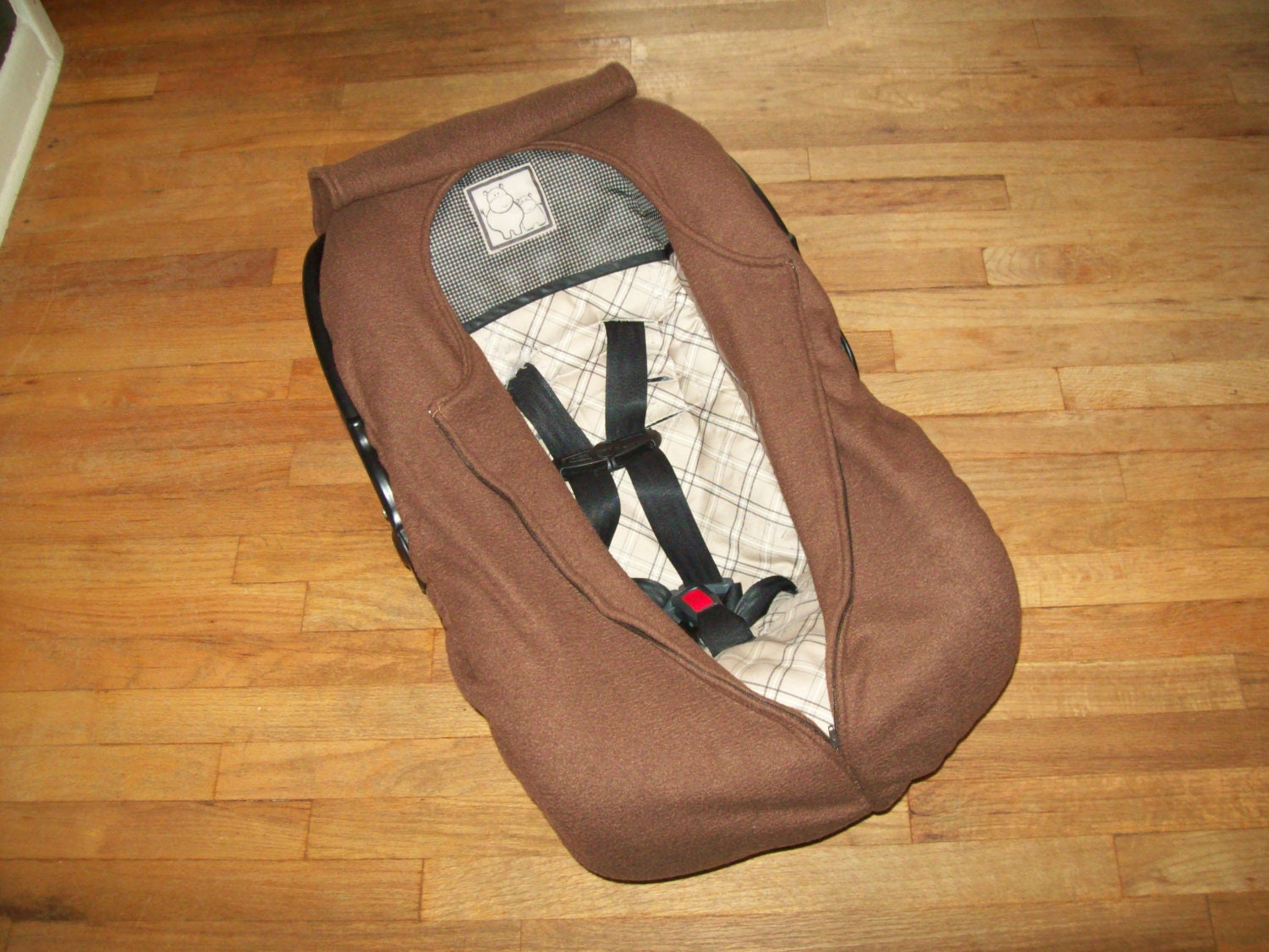 fleece infant car seat cover brown by agrowingfamily on etsy. Black Bedroom Furniture Sets. Home Design Ideas