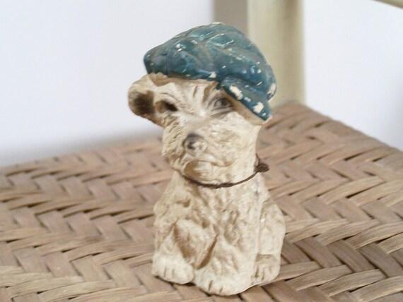Vintage Scottie Dog Chalkware Figurine Dapper Hat