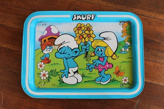 Blue Vintage Smurf TV Tray / Lap Tray