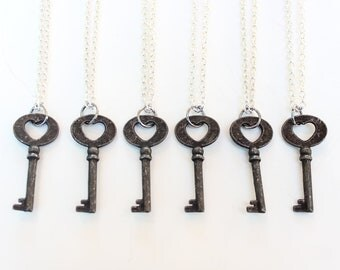 Bridesmaids Necklaces, Six bridesmaid necklaecs, key necklace, Rustic Heart Key, Bridesmaids Gifts