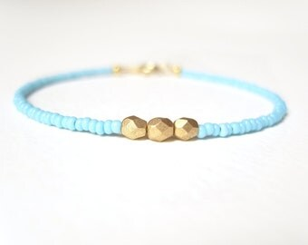 Friendship Bracelet, Gold Nugget Bracelet, Blue Seed Bead Bracelet, Layering Bracelet, UK Seller
