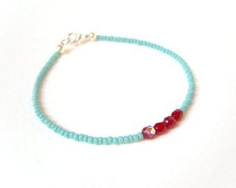 Turquoise and Red Friendship Bracelet, Turquoise Bracelet, Seed Bead Bracelet, Colorblock Jewelry UK