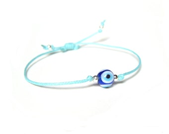 Evil Eye Bracelet, Blue String Bracelet, Friendship Bracelet, Evil Eye Jewelry UK