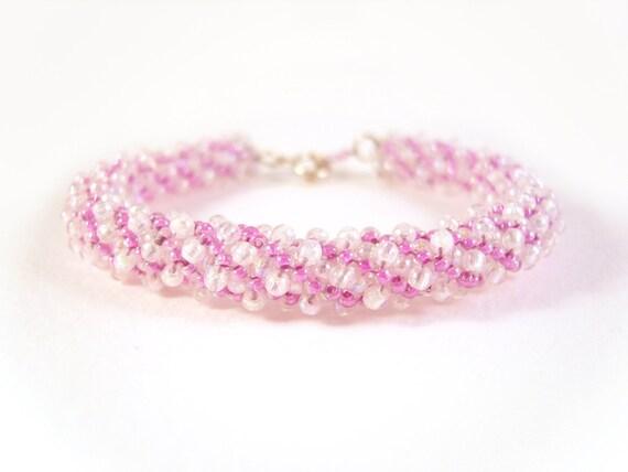 Purple Beaded Bracelet - Spiral Seed Bead Bracelet Beadweaving
