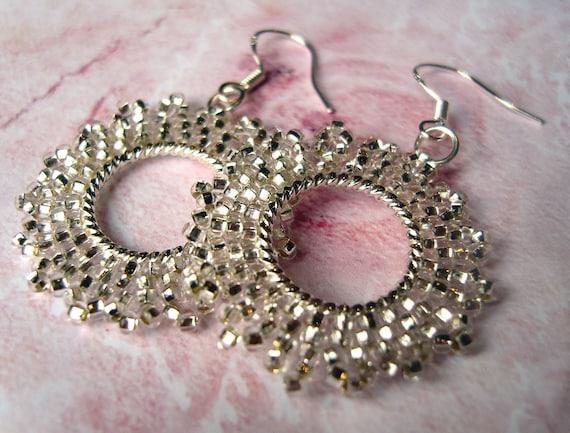 Dangly Hoop Earrings : Silver Snowflake Earrings, Seed Bead Hoops, Beaded Jewelry, UK Seller